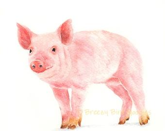 Cheerful Piggy Print, Watercolour Pig, Nursery Animal Print, Farm House Decor, Farm Animal Print, Cute Pig Print