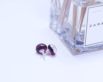 Fused Glass Sterling Silver Earrings