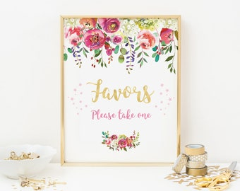 Floral favors sign, 1st birthday party favors sign, Floral Party favors sign, Printable favors sign, first birthday favors sign, gold flower
