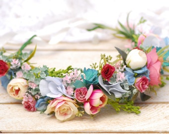 Wedding floral crown Bridal halo Spring wedding hair piece Bridal flower crown Flower headpiece Floral crown  Boho wedding Flower girl crown