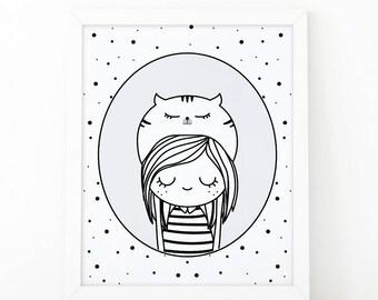Girl poster, cat loverr, Monochromatic art, girl Illustration, Black and White, Nursery Art, digital prints, scandinavian art, girls rule