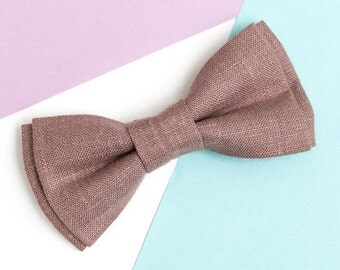 Wedding bow tie Dark Rosy Brown Linen bow tie Bow tie for men Groomsen gifts Bow tie for groom Bow tie for boy Ring bearer outfit Bowtie
