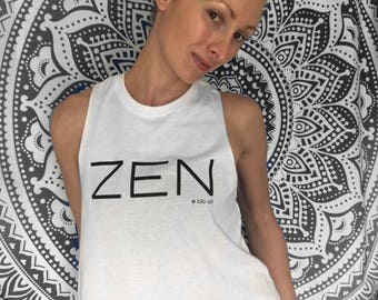 6.1 Zen Tank. Semi Crop Top. Racerback. Yoga. Zen. Barre. Fitness. Chill. Festival. Boho