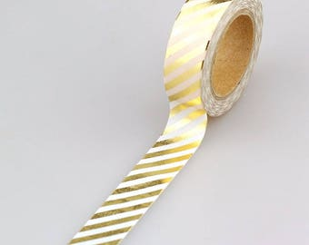 Tape 10 m with 1.5 cm white and gold color