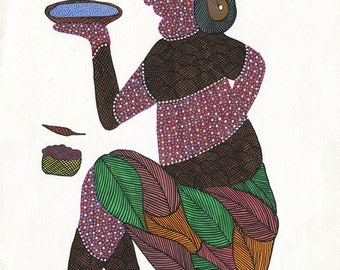 Figure with bowl, Gond Artwork, original acrylic