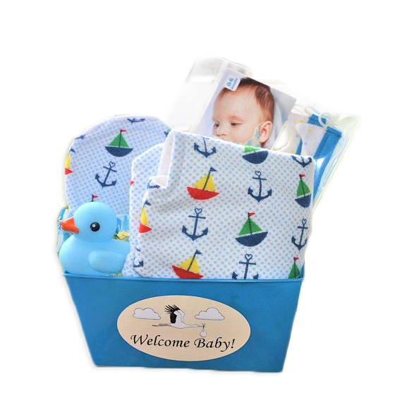 Etsy Australia Baby Gifts : Personalized baby gift basket for a boy burp cloth