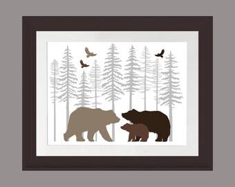 Brown Bear Wall Art, Nature Print, Bear Family Art Print, Rustic Cabin Art, Lodge Art Print, Bear Art Print, Fir Trees