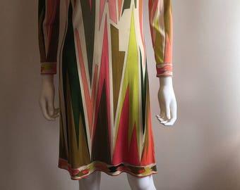 Original Pucci Dress / 1960s / 100% Silk / Pink / Chartreuse / Green / S-M