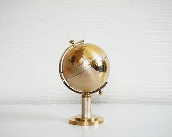 Brass globe cigarette holder world terrestrial globe vintage