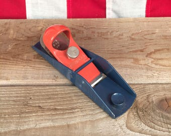 """Stanley No. H102 Block Plane • Red & Blue 6"""" Woodworking Plane • Made in USA"""
