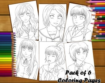 Anime Coloring Pages - Pack of 6 Original Linearts - Unique Edition, drawing, manga, art, colouring, girls, schoolgirl