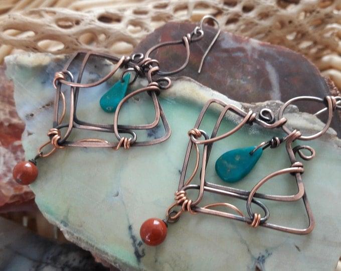 Copper Sleeping Beauty Turquoise Red Jasper Art Noveau inspired one of a kind chandelier earrings