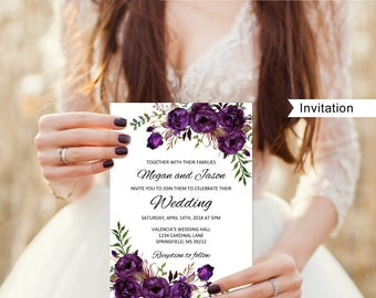 Eggplant Wedding Invitation Template Boho Chic A039 Instant Download