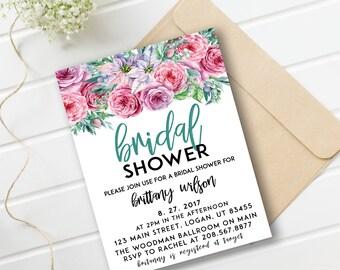 Bridal Shower Invitation | Watercolor bridal invite | Floral Bridal Shower Card | Instant Digital Download File PDf | Flower Bride DIY