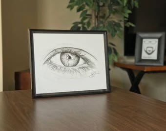 "11x14"" Framed Original Graphite Drawing of Eye (Window to the Soul)"