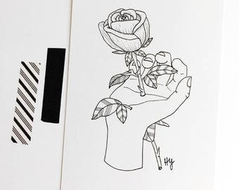 Rose Original Botanical Illustration, Black and White Rose Art Modern Decor, Unique Minimalist Wall Art, June Birth Flower