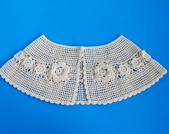 Vintage Crochet Lace Collar, Crocheted Daisy Accessories