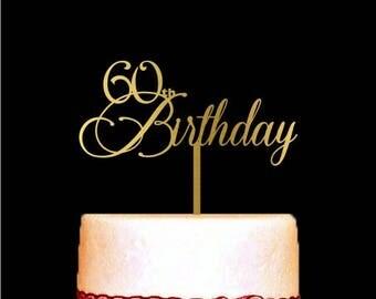 60th Birthday Cake Topper, 60th Birthday Decoration, Customize Age Birthday Cake Toppers, 60 Cake Topper, Gold Birthday Cake Topper