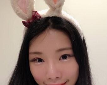Bunny ears Rabbit Small Baby Headwear Leopard Pink Furry Animal Headband Costume Bow Bells