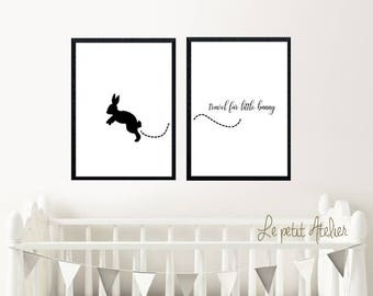 nursery printables set-Printable Art-Travel Far PRINTABLE art- Printable Art Bunny-Printable Art-Nursery Printables-Nursery Print Set