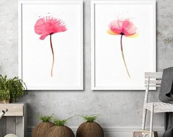 Watercolor poppy flower art painting Modern home decor Home wall art FLORAL illustration living room decor Set 2 art prints Fern and poppy