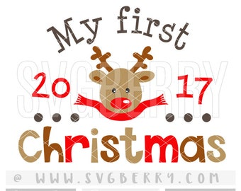 My First Christmas SVG 1st Christmas Ornament Reindeer Baby Shower Gift Newborn Baby Deer Antler Head Svg / Hunting Buck Doe / Cut Files /Aw