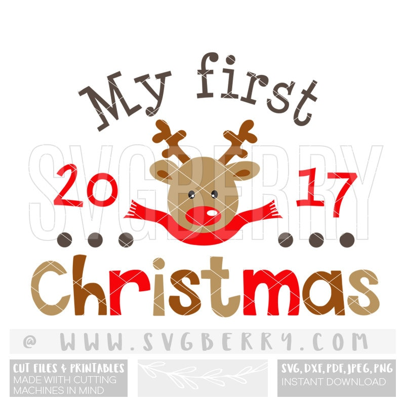 My First Christmas SVG 1st Christmas Ornament Reindeer Baby