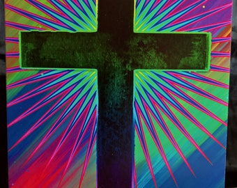 Cross with Multicoloured Flare - Greeting Card
