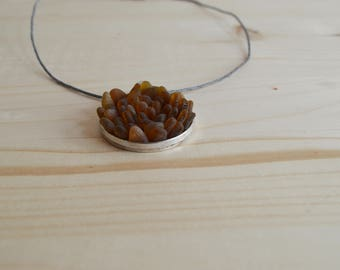 Brown beach glass round pendant necklace