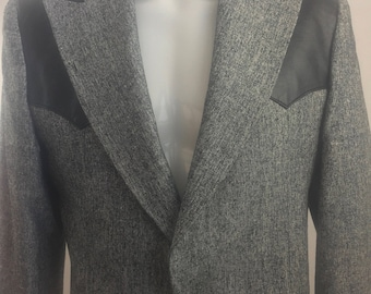 Vintage Pagano West Tailored Apparel Bolero Jacket with Black Leather Accents/Made in USA/Size Small-Medium