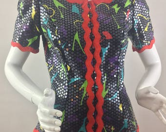 Vintage Rimini for Saks Fifth Avenue Multi-Colored Sequined Top/Size 6