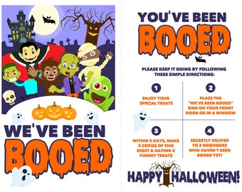You've Been Booed! Halloween Treat Printable Sign
