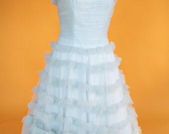 Vintage 1950's Aqua Tulle Prom Dress/Party Dress/Cupcake Dress UK 10 US 6