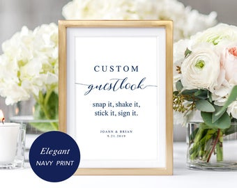 Navy Custom Guestbook Sign Template, Printable Guest Book Sign, Polaroid Jenga Photo Guestbook, Editable PDF, Instant Download #SPP008cgs