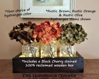 Rustic Home Decor, Farmhouse Decor, Lighted Mason Jars, Pint Size Mason Jars, Housewarming Gift, Rustic Wedding Decor, Mason Jar Decor