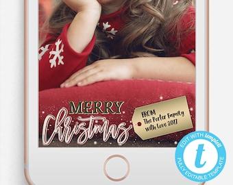 Christmas Snapchat Filter, Merry Christmas Snapchat Geofilter, Editable Snapchat Filter, Templett, Christmas Family Snapchat Filter