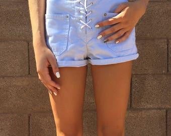 Pastel Blue Lace Up Shorts