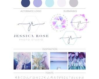 PHOTOGRAPHY Logo Branding Kit, Lavender Watercolor Logo, Camera Lens Logo Watermark Premade Branding Package, Initials Logo Package