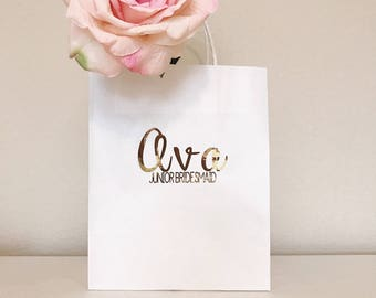 Personalized Gift Bags | Name + Title | Custom Gift Bags | Shower Gifts | Wedding Favors | Hand Lettered | Kraft Bag | 8x10