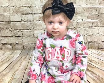 Faux Leather Headband- Leather Bow; Leather Hair Bow; Baby Bow; Nylon Headbands; Black Headband; Black Bow; Black Hair Bow; Baby Headband