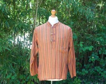 Vintage Hippie Style Grandad Collar Long Sleeved Top - Size Medium