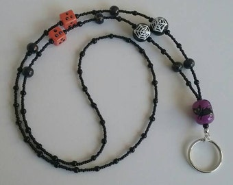 HALLOWEEN Lanyard Black Cat and Spider Web Lampwork beads, 18 inches, Badge, ID, Beaded necklace.