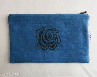 Linen zipper pouch, linen makeup bag, block printed clutch, indigo linen pouch, linen project bag