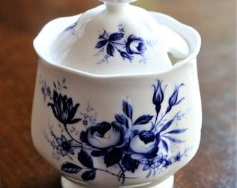Royal Albert Connoisseur Covered Sugar Bowl, Royal Albert Sugar Bowl, Connoisseur Sugar Bowl, Vintage Royal Albert, Blue Roses