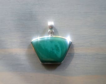 Green Malachite pendant in Sterling Silver