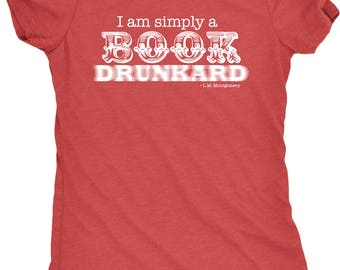 I Am Simply a Book Drunkard Women's Tri-Blend Crew Neck T-Shirt - Plus sizes available!