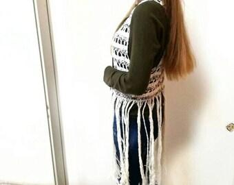 Crochet fringe vest, Boho vest, Hippie knit vest, Beach cover up, White fringe vest, Bohemian clothing, Gift for her,