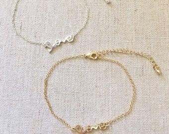 LOVE Bracelet, Silver Bracelet, Gold Bracelet, Bangle, Dainty Bracelet, Delicate Bracelet, Bridesmaid gift, Birthday gift, wedding gift
