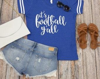 It's Football Y'all Varsity Tee Royal Blue..Gameday Tee..Printed Tailgating Tee..Fall Tee..Preppy Game Day Tee...Varsity Stripe