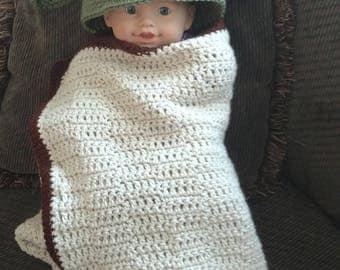 Crochet Yoda Inspired Hooded Baby Blanket